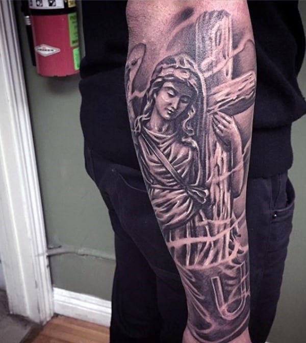 outer-forearm-christian-tattoo-sleeves-for-men-angel-with-cross