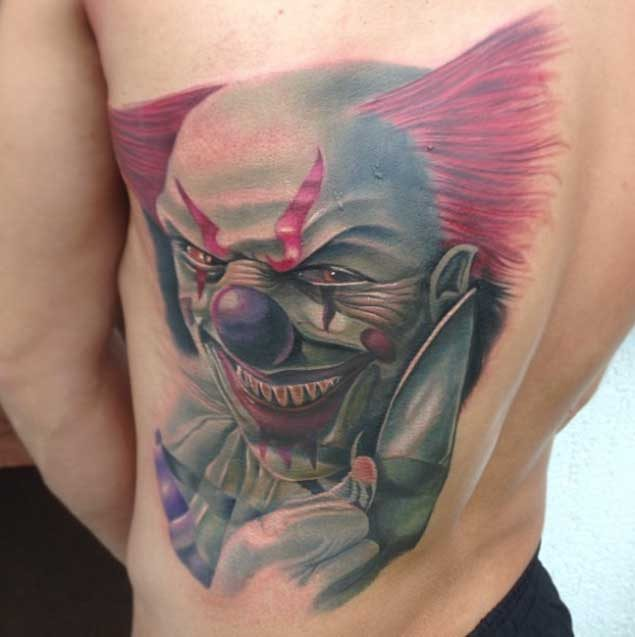 57d9ed7dc This terrifying forearm tattoo. Scary Clown Tattoo