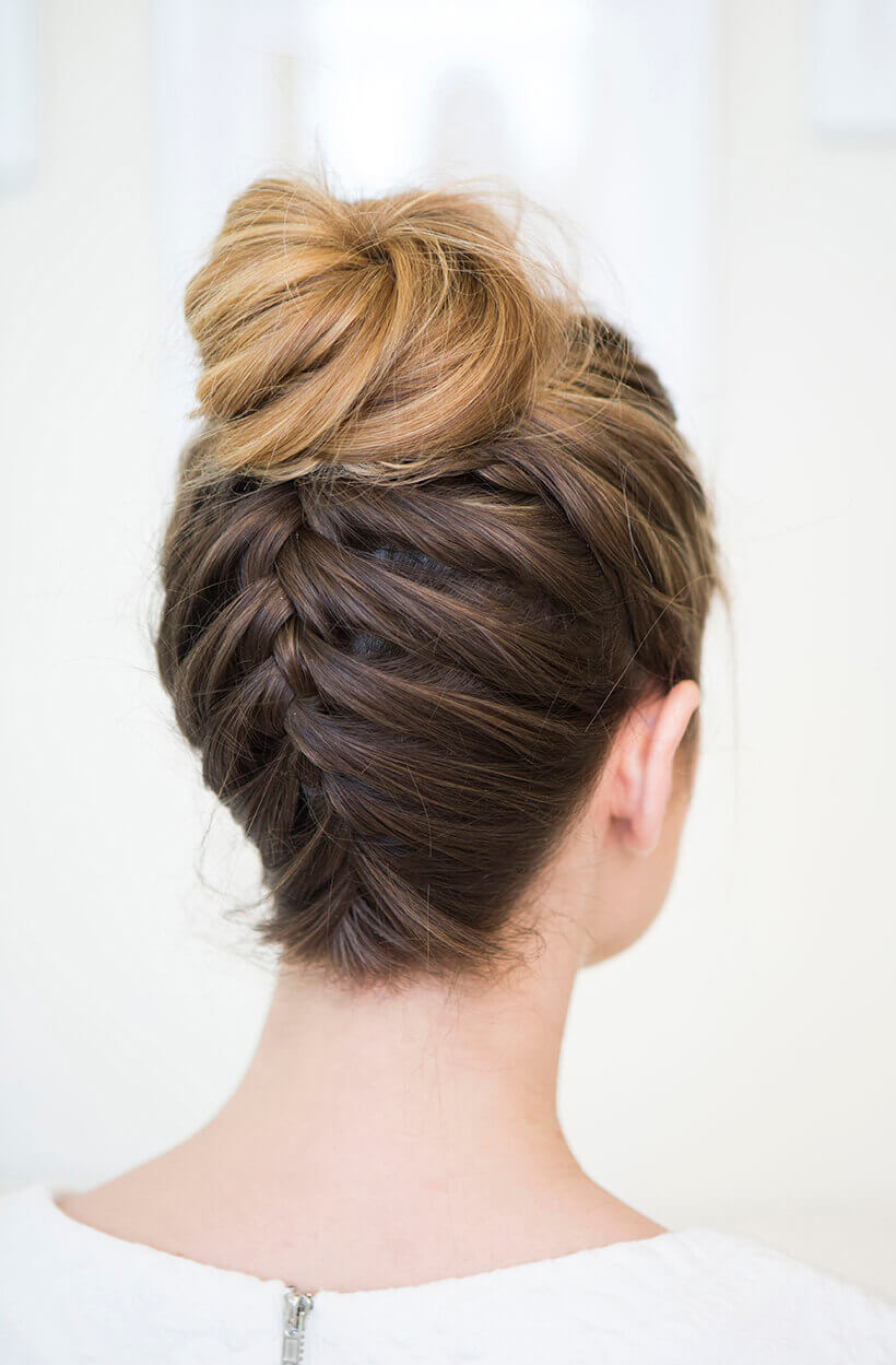 forward directed braid with bun