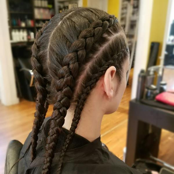 four braids combined hairstyle