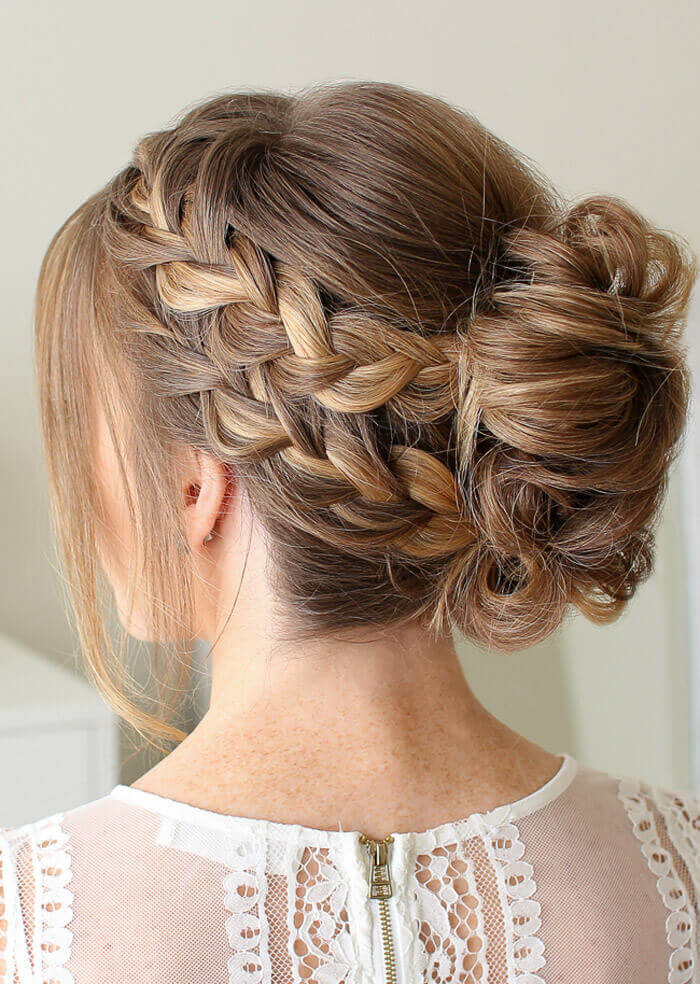 french braid mohawk with bun