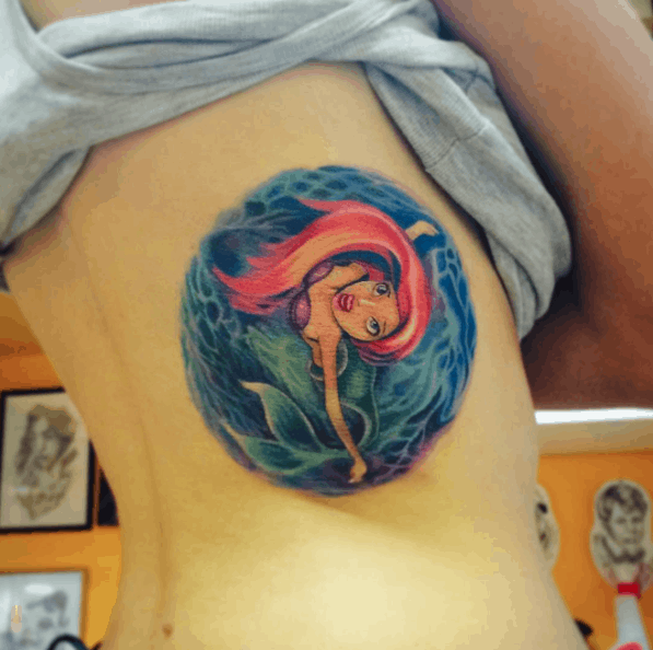 Circular Little Mermaid tattoo by Svetlana Liubchenko