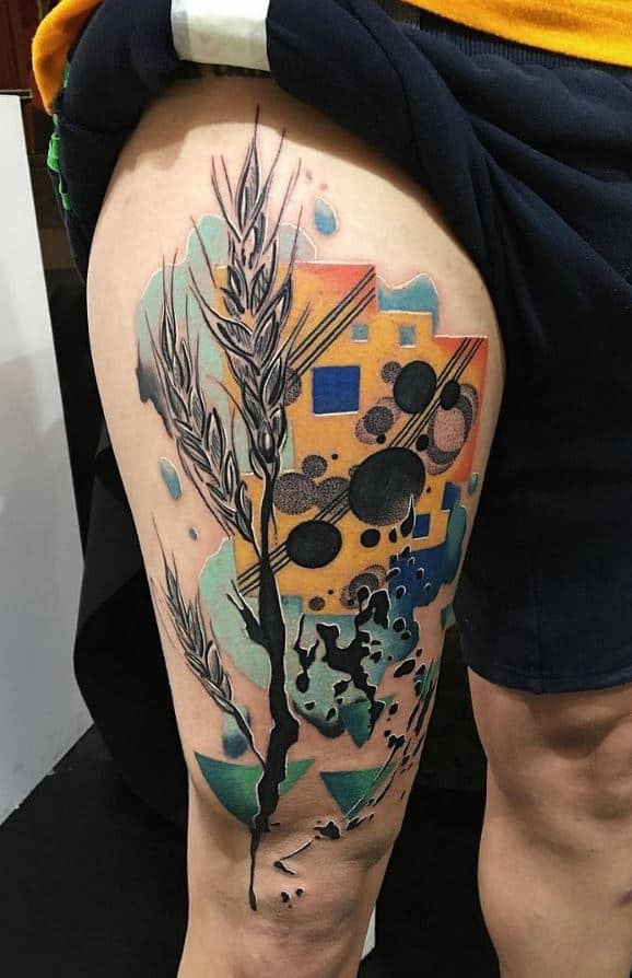 abstract leg tattoo