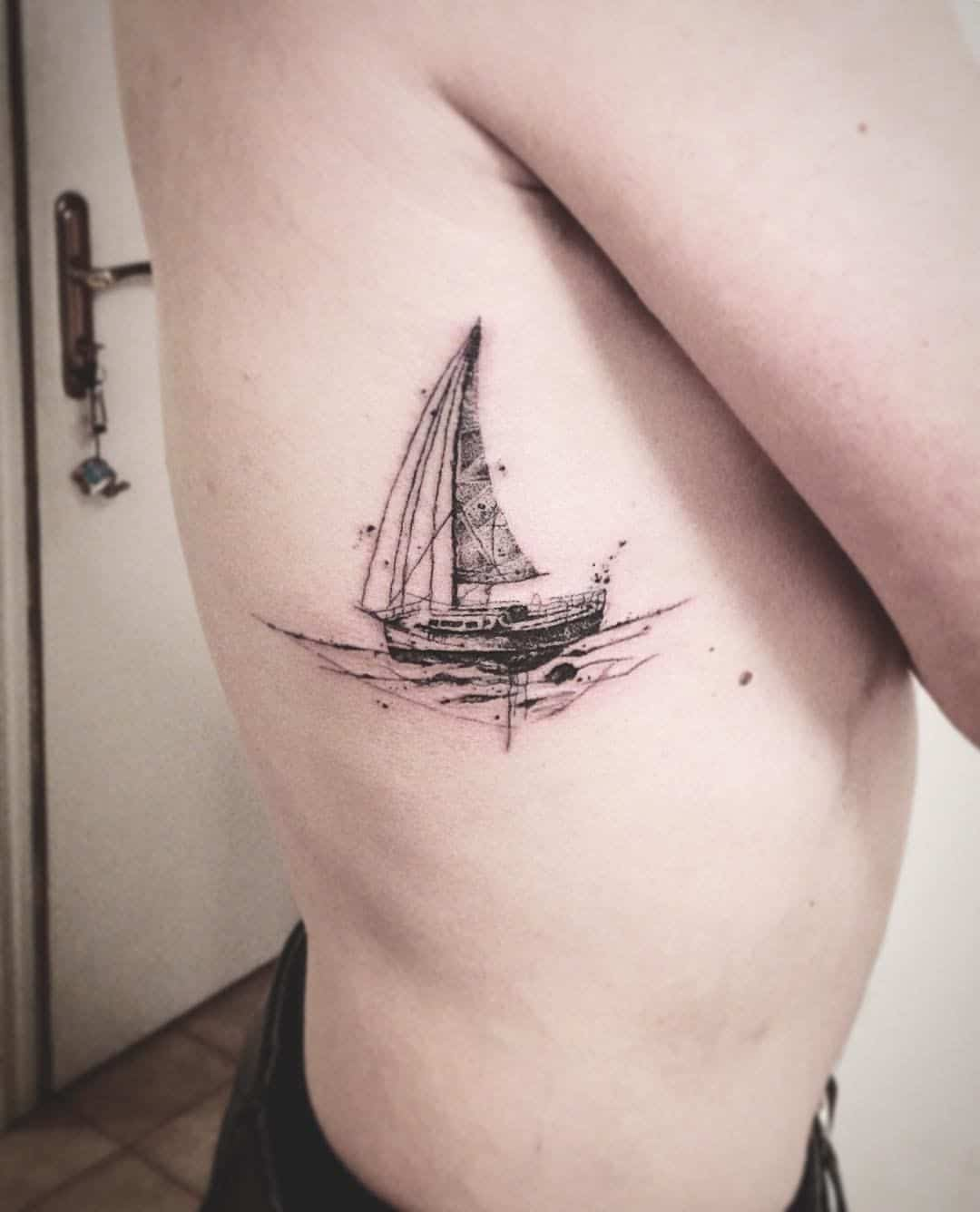 boat tattoo on back