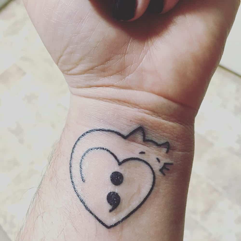 cat semicolon tattoo