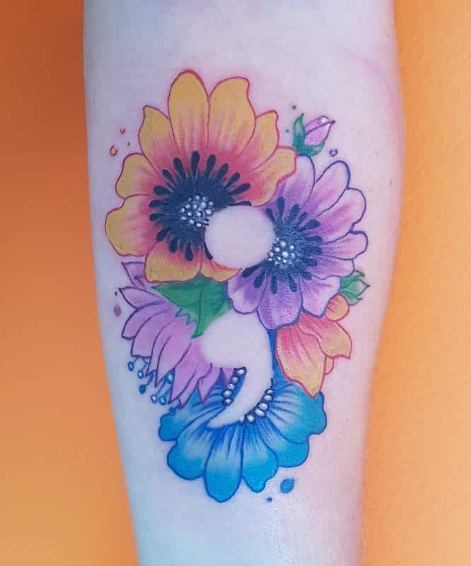 flower semicolon tattoo