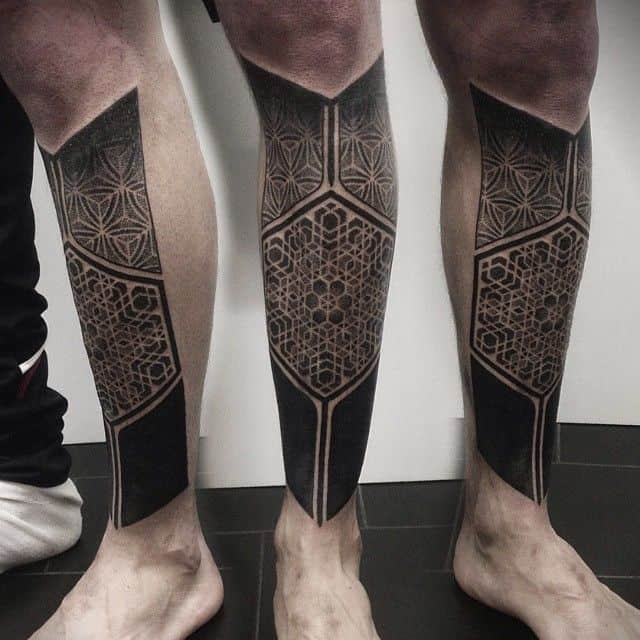 geometric tattoo on leg