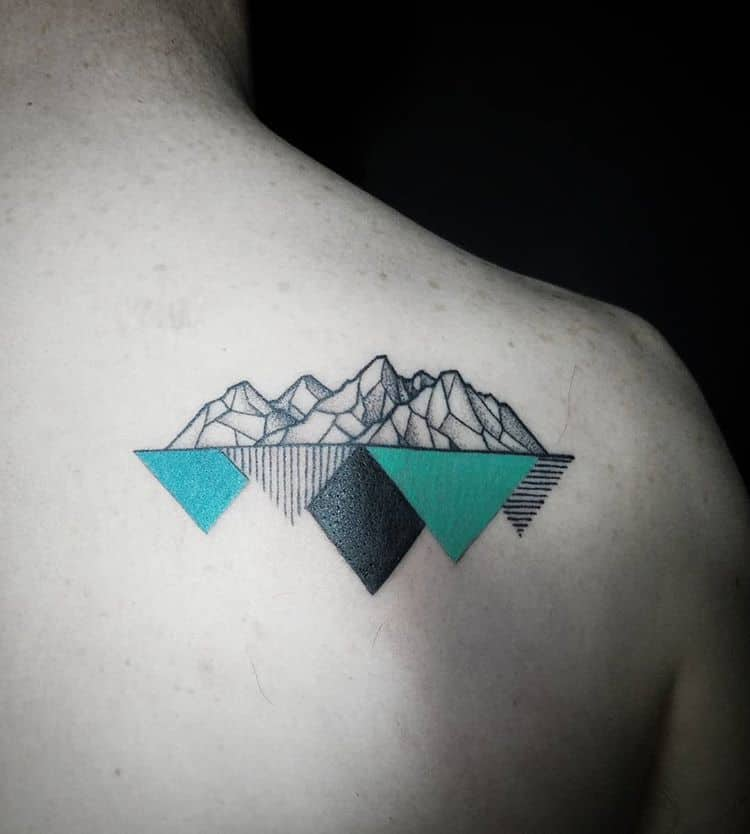 geometric mountain tattoo on back