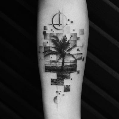 geometric palm tree tattoo on arm