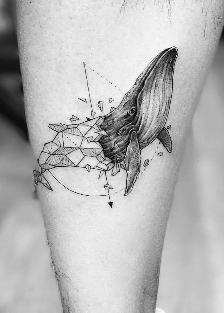 geometric sea creature tattoo
