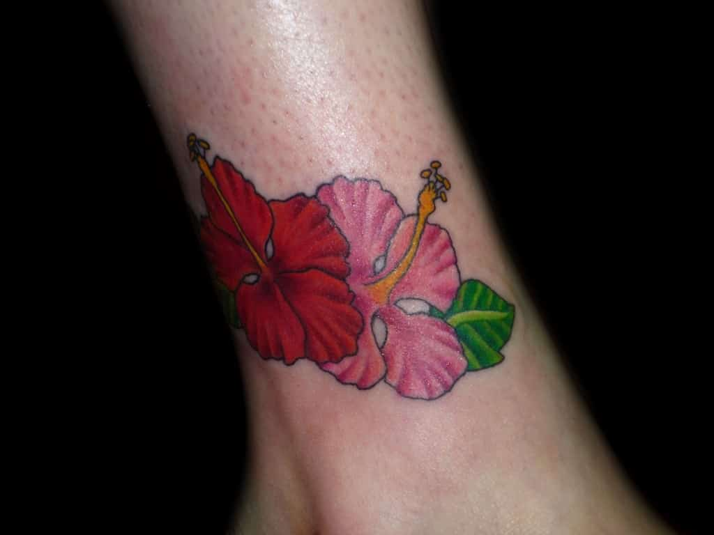 hibiscus ankle tattoo