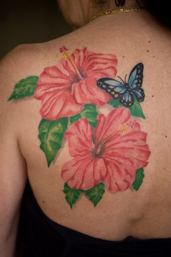 hibiscus back tattoo