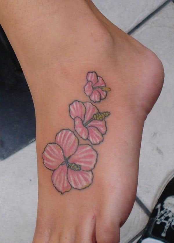 hibiscus foot tattoo