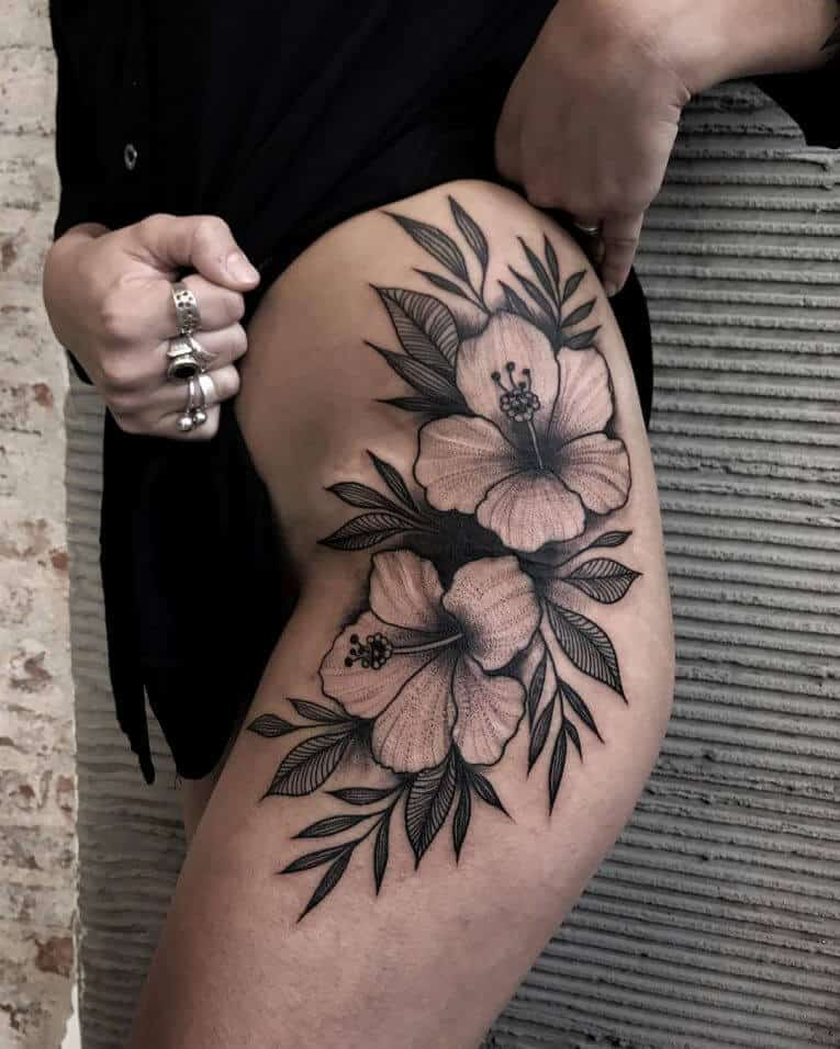 hibiscus hip tattoo