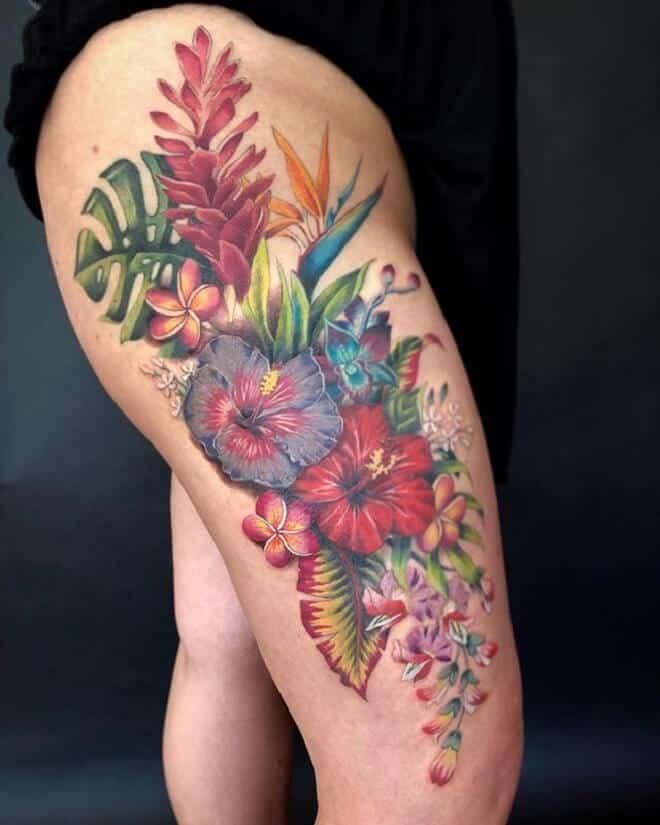 hibiscus leg tattoo