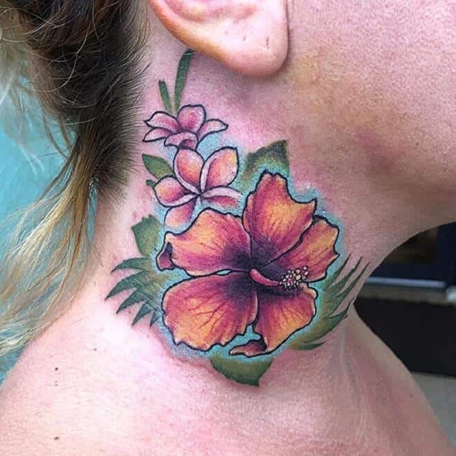 hibiscus neck tattoo