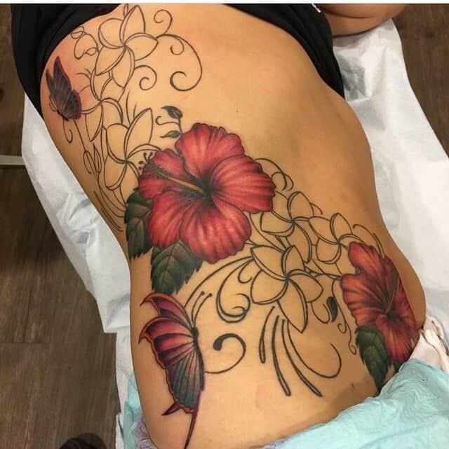 hibiscus rib tattoo