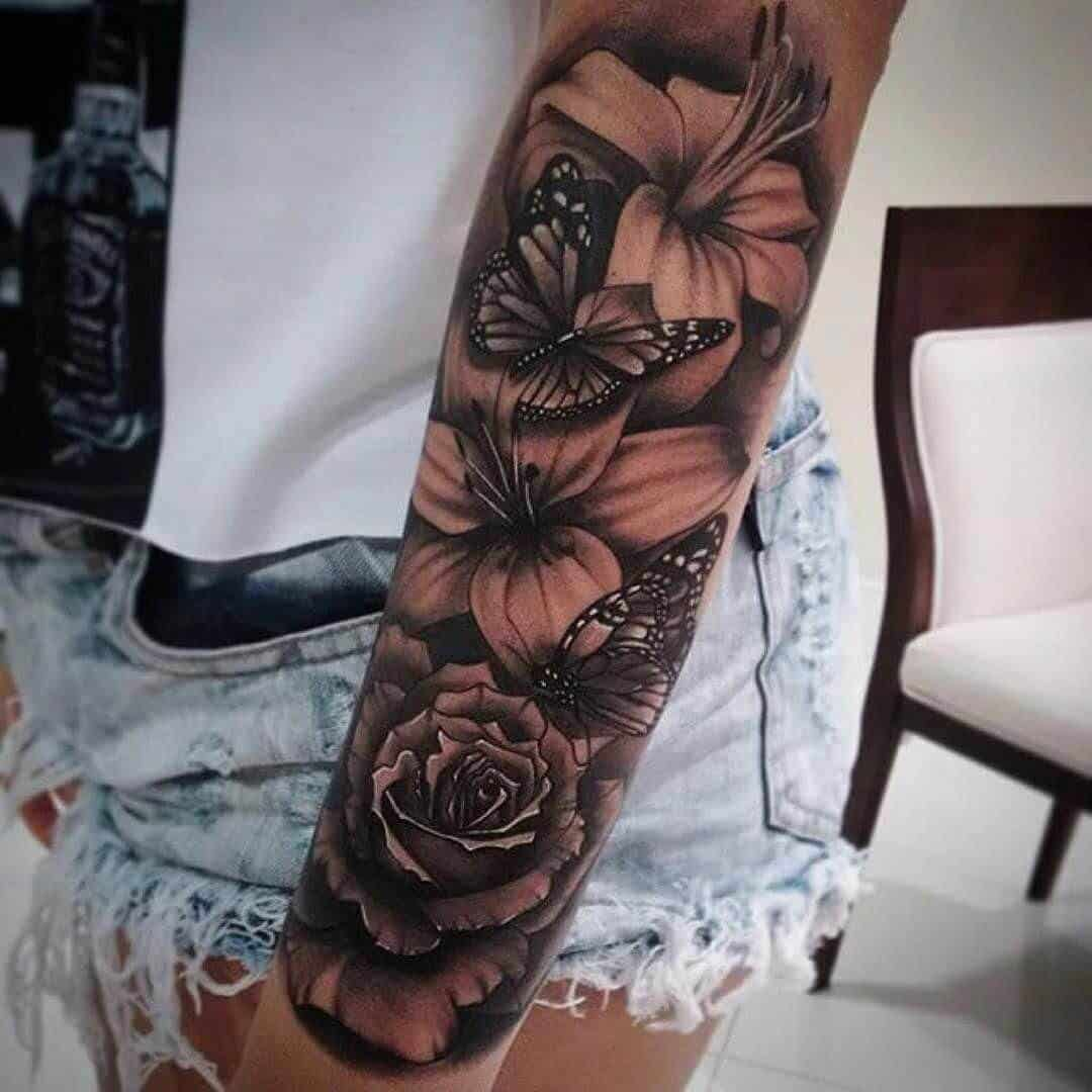 hibiscus sleeve tattoo