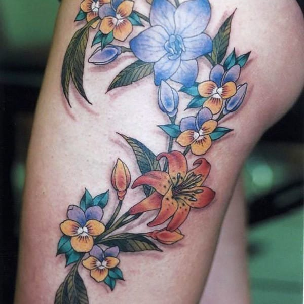 hibiscus thigh tattoo