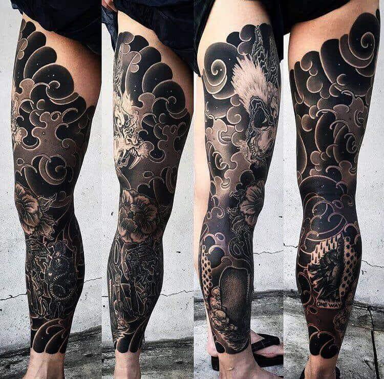 irezumi tattoo on leg