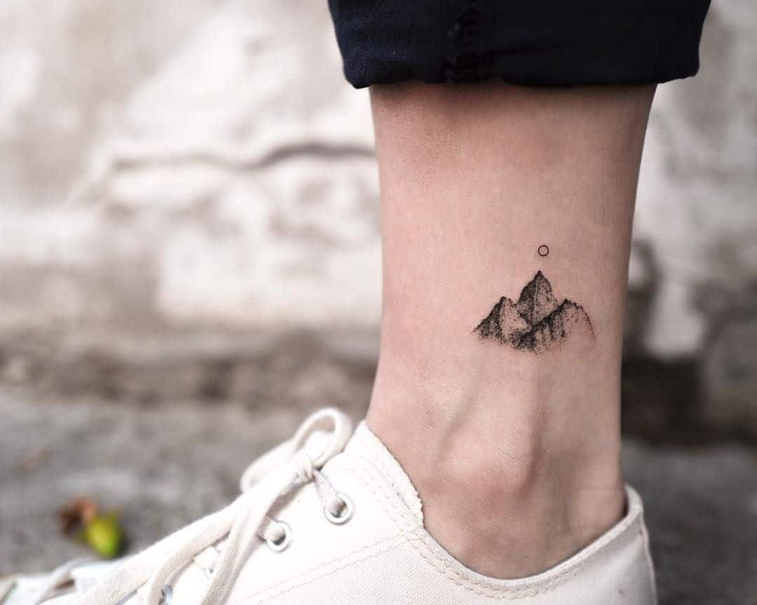 mountain ankle tattoo