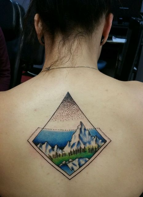 mountain back tattoo
