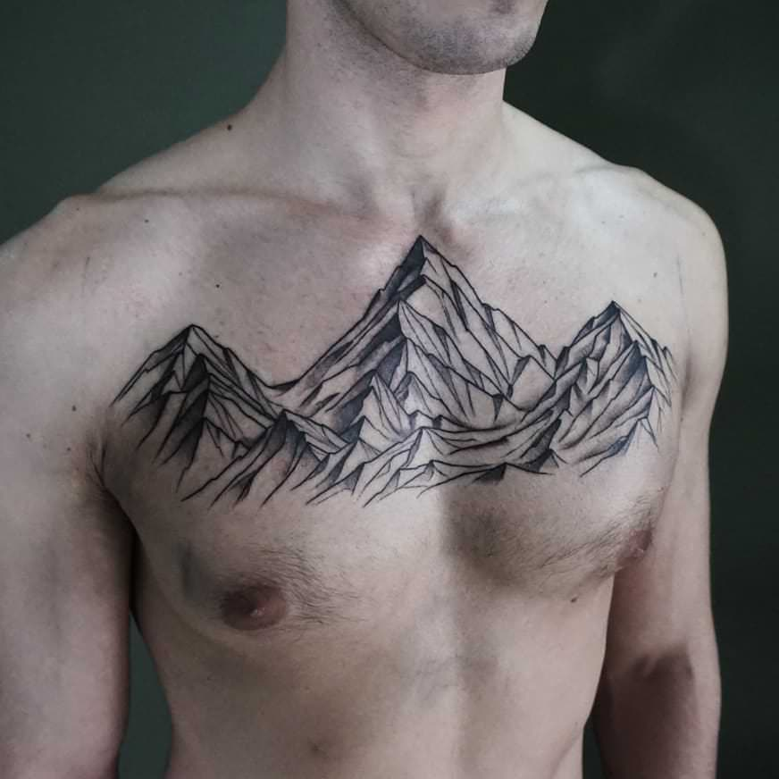 mountain chest tattoo