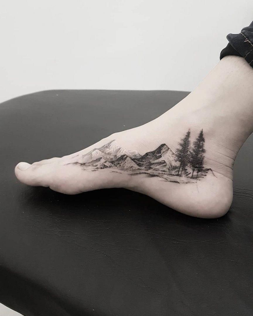 mountain foot tattoo