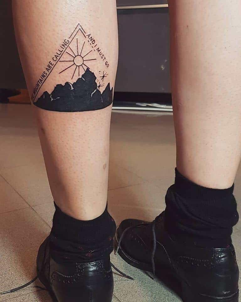 mountain leg tattoo