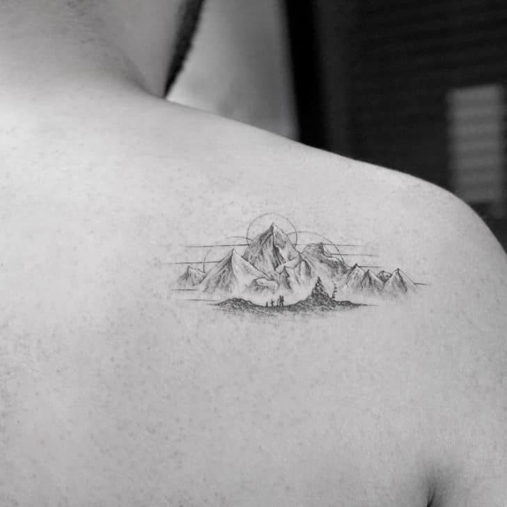 mountain shoulder tattoo