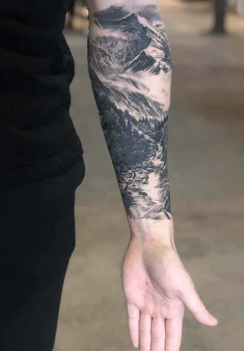 mountain sleeve tattoo