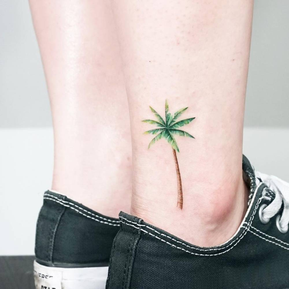 palm tree ankle tattoo