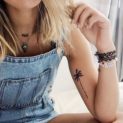 palm tree arm tattoo