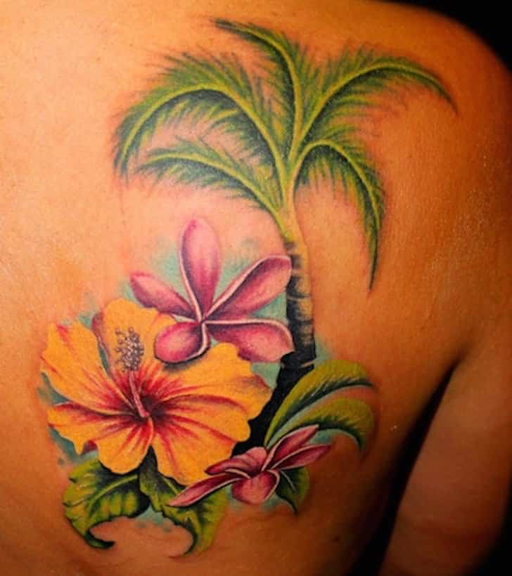 palm tree back tattoo