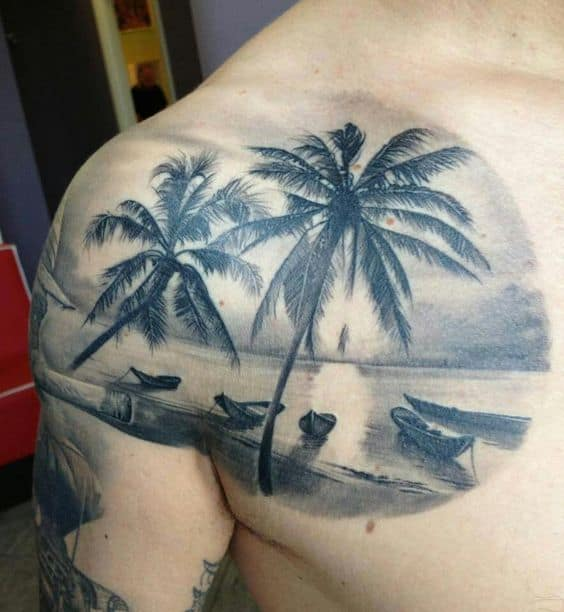 palm tree chest tattoo