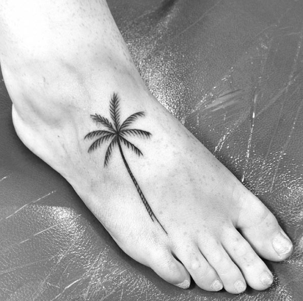 palm tree foot tattoo