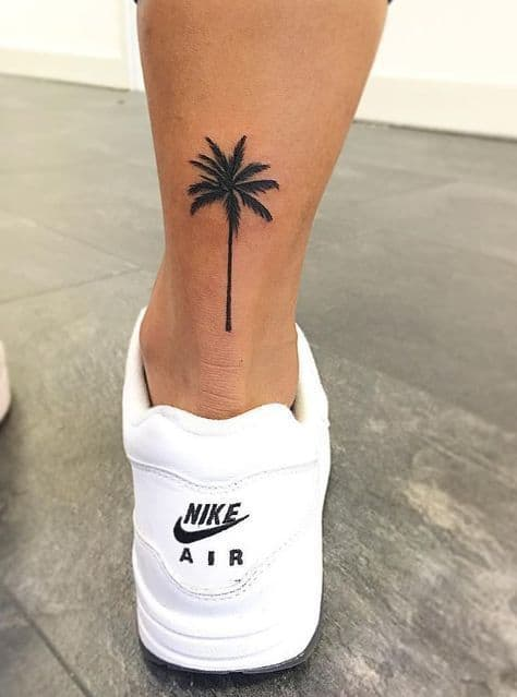 palm tree leg tattoo