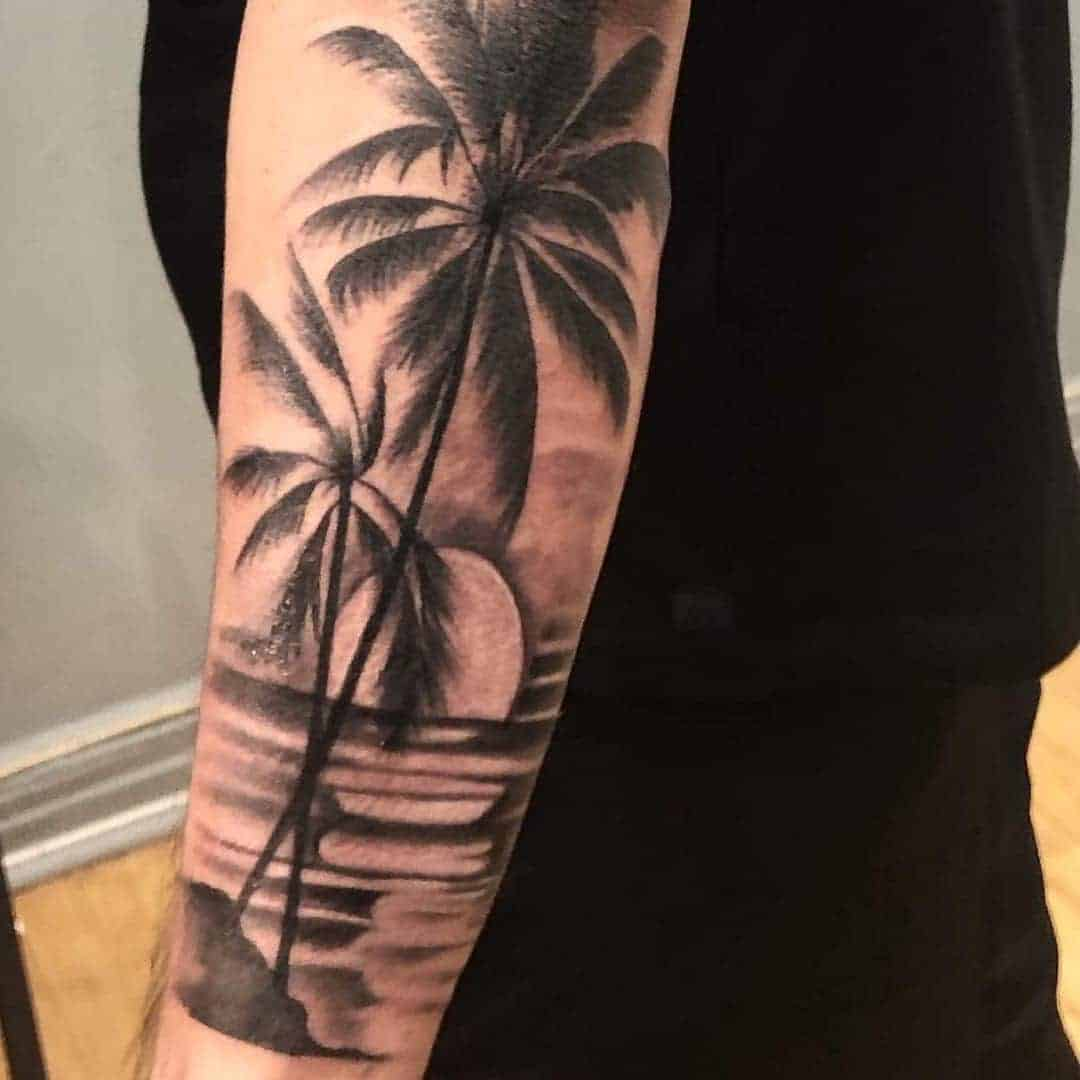 palm tree sleeve tattoo