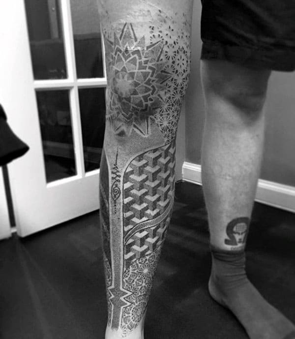 pointillism tattoo on leg
