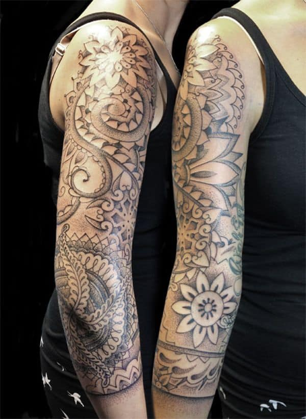 pointillism sleeve tattoo