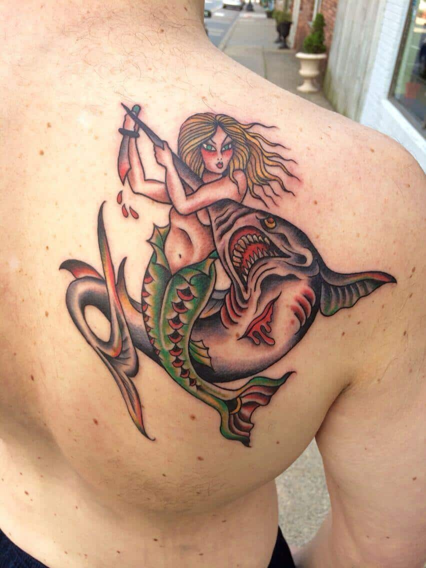 sailor jerry mermaid tattoo on back