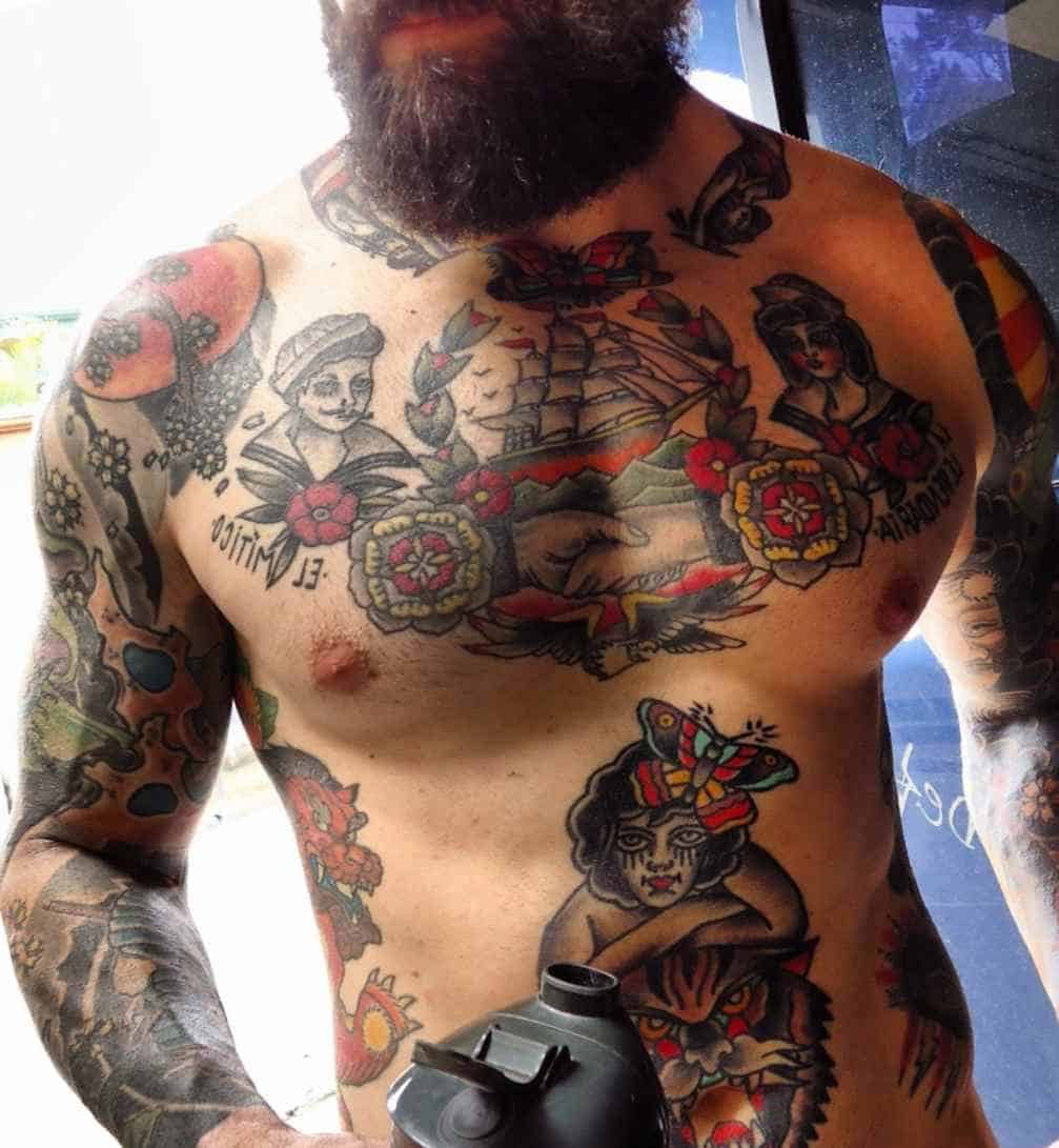 sailor jerry ship tattoo on chest