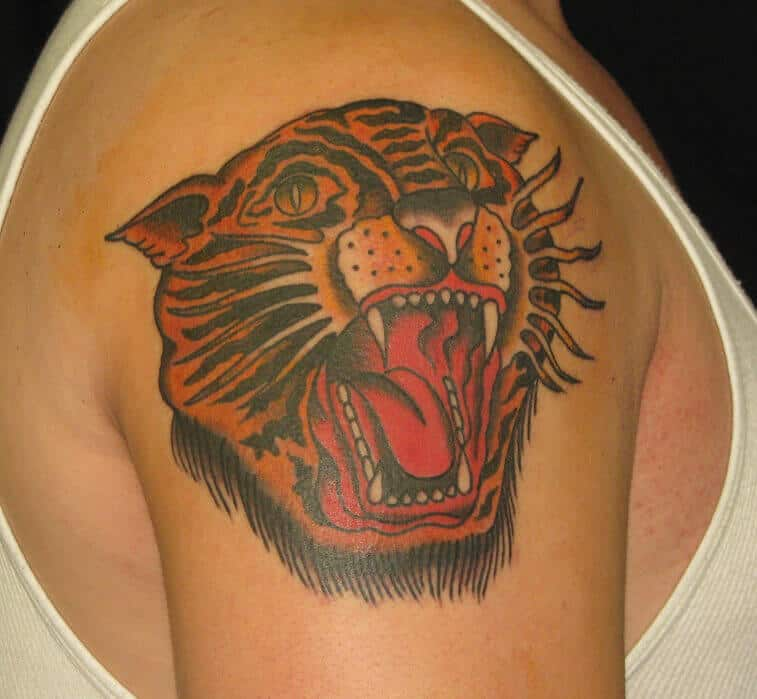 sailor jerry tiger tattoo on arm