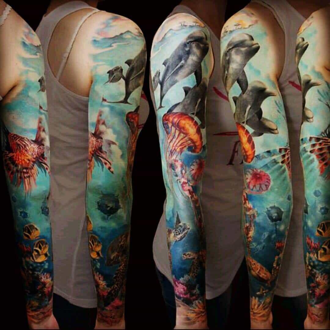 sea creature sleeve tattoo