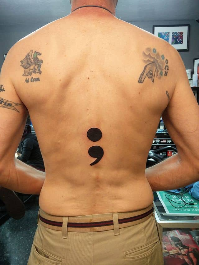 semicolon back tattoo
