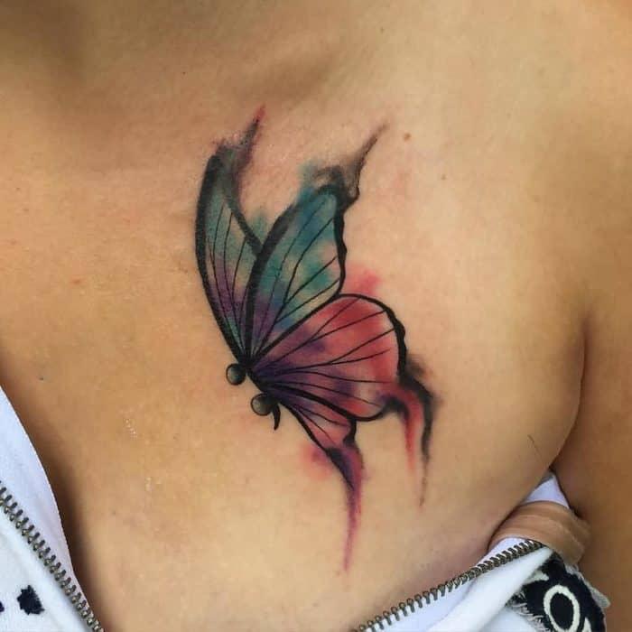 semicolon chest tattoo