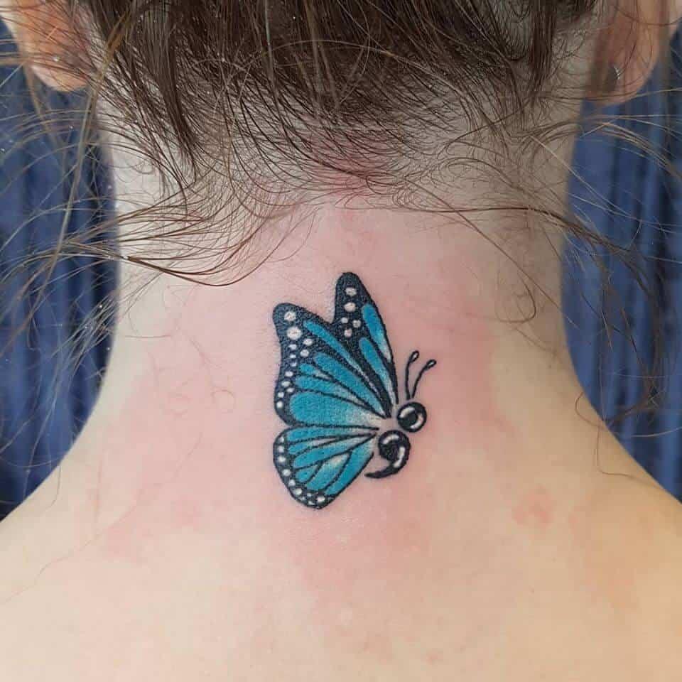 semicolon neck tattoo