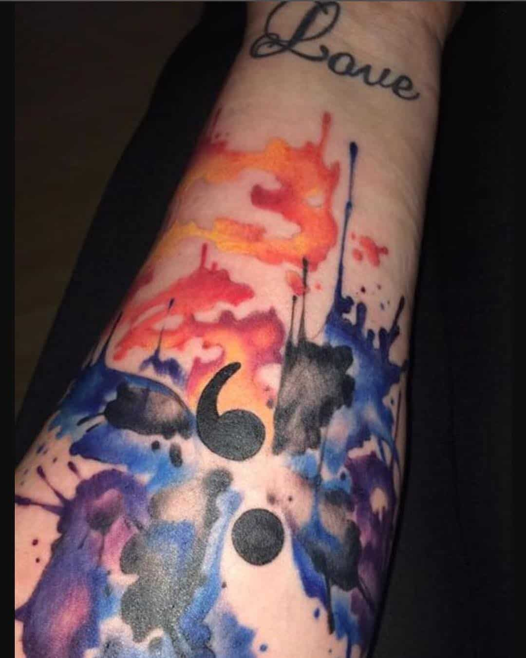 semicolon sleeve tattoo