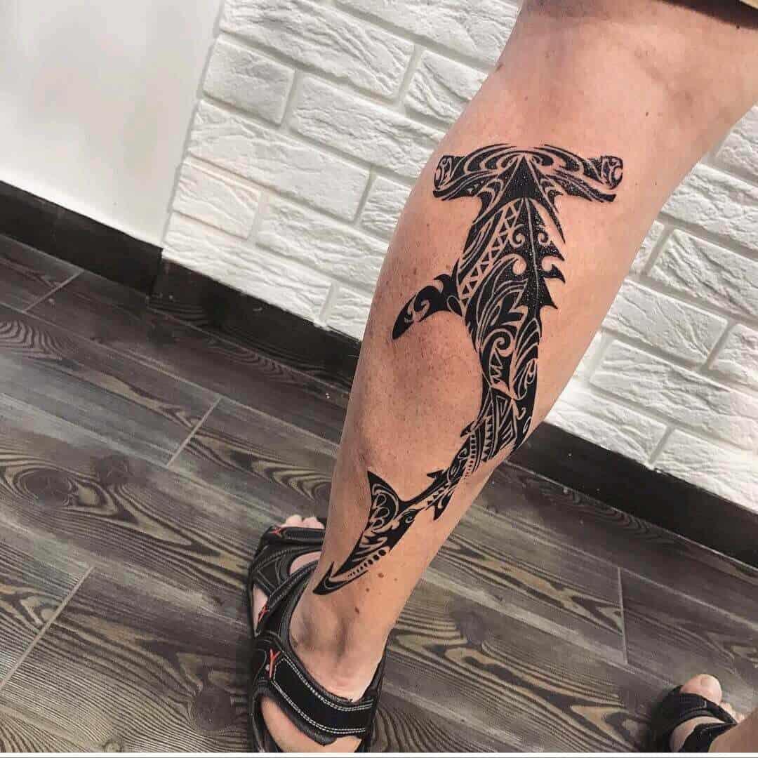 shark tattoo on leg