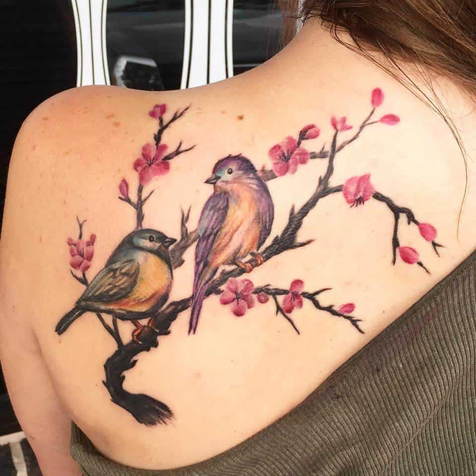 sparrow back tattoo